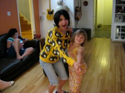 family visiting relatives love illness little girl dance