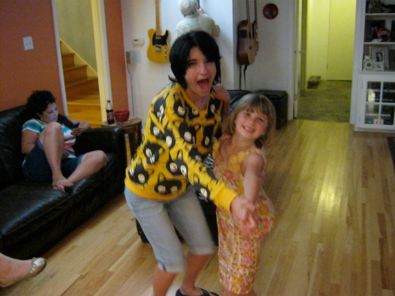 family visiting relatives love illness little girl dance