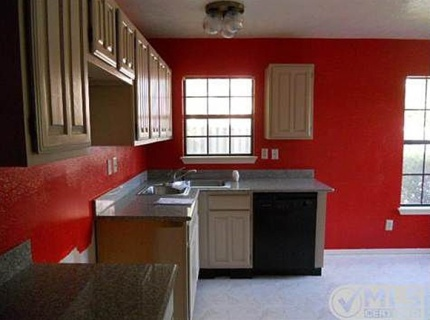 bright red kitchen
