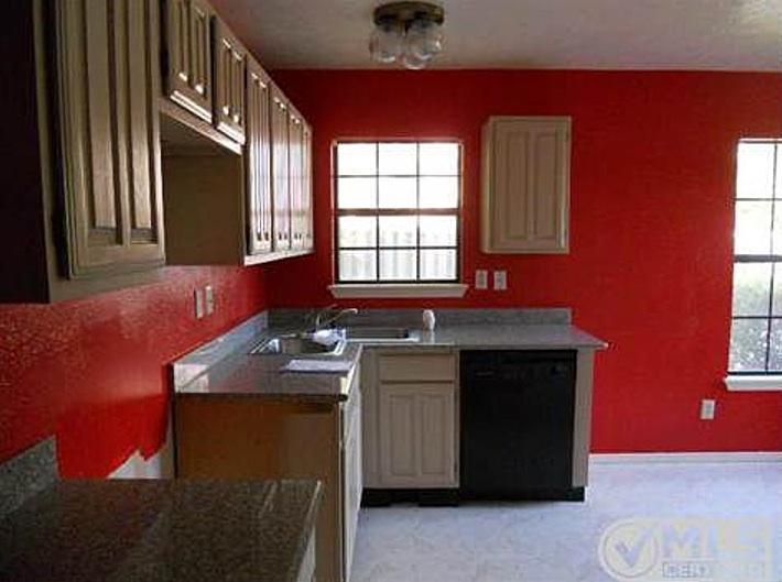 bright red kitchen