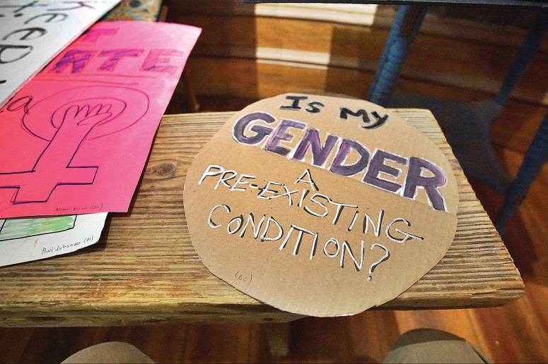 BEN GARVER — THE BERKSHIRE EAGLE  A sign carried in the Washington DC Women's March was delivered by Paul Johansen to the Shire  City Sanctuary for Febuary exhibit of art from the women's marches.